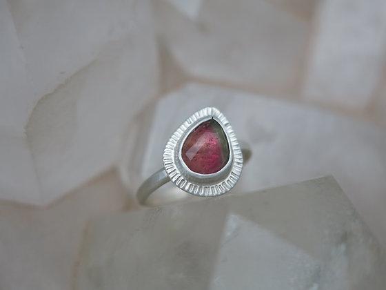 Pink Tourmaline Pear Ring