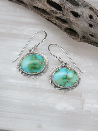 Green and Blue Turquoise Flower Bud Earrings