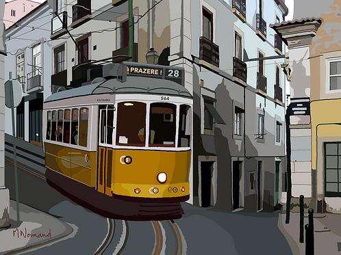 Lisbonne-vieux tramway/ Papier japonais sans cadre 30x40
