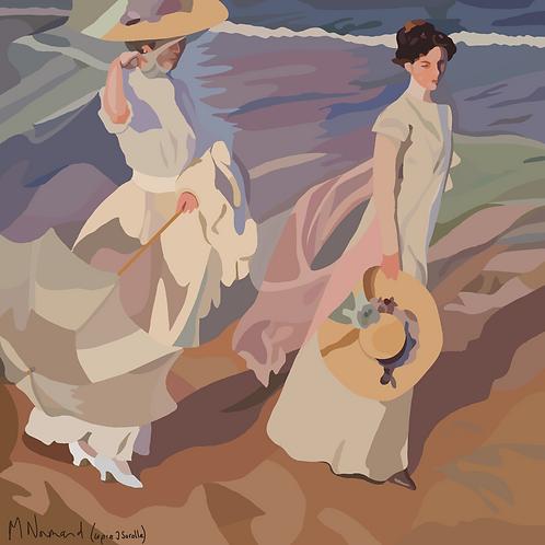 Promenade au bord de la mer/ Poster encadré bois 30x45
