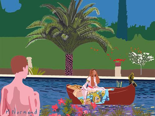 Soir d'été au jardin / Poster encadré bois 30x40