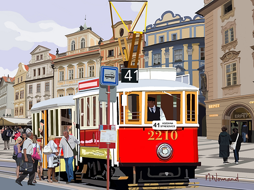 Prague-vieux tramway/ Papier japonais sans cadre 30x40