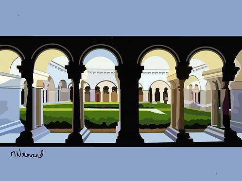 cloitre de l'abbaye de Silvacane/ Papier japonais sans cadre 30x40