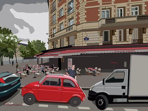 ma Fiat 500 (66-69)/ Poster encadré bois 30x45