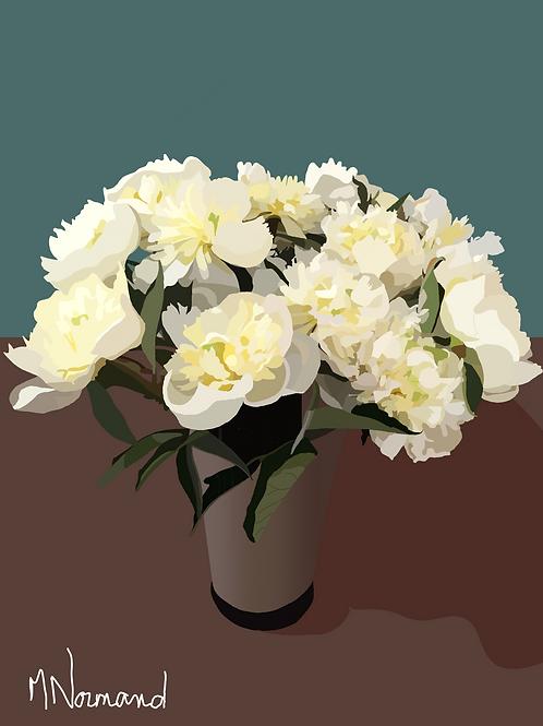 Pivoines blanches/ Caisse américaine papier 165g 3