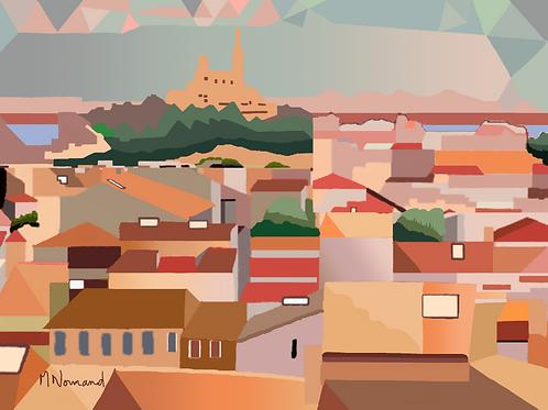 Marseille-toits/ Poster encadré bois 30x45