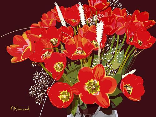 2021-01-27 tulipes/ Papier japonais sans cadre 30x40
