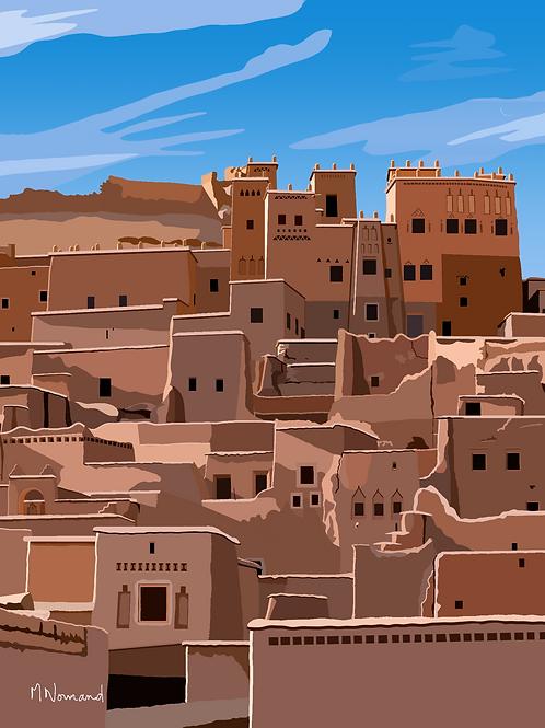 Ouarzazate-Ksar/papier japonais sans cadre 30x40