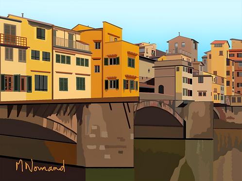 Ponte Vecchio/ Poster encadré bois 30x45