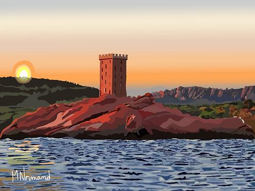 St-Raphaël coucher de soleil sur l'ile d'or/Caisse américaine papier 165g 30x40