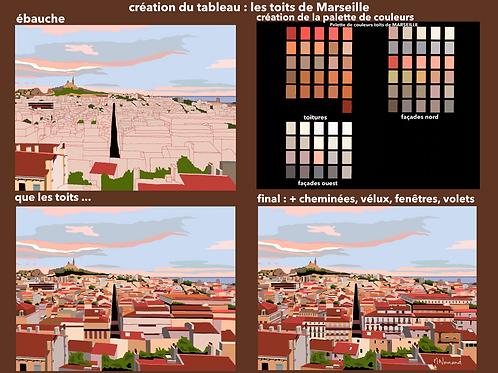 les toits de Marseille/ Papier japonais sans cadre 30x40