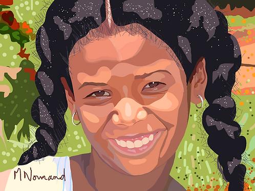Cuba-petite fille/ Poster encadré bois 30x45