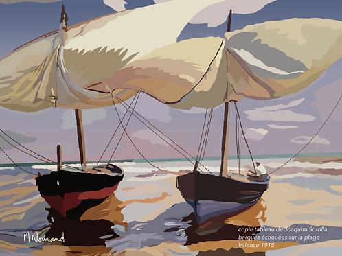 2021-04-04 barques/ Papier japonais sans cadre 30x40