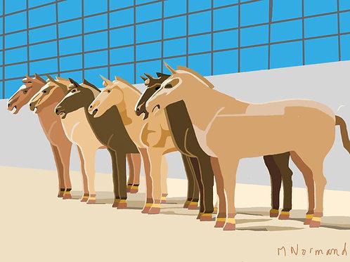 Xi'an-chevaux / Poster encadré bois 30x45