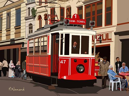 Istanbul-vieux tramway/ Poster encadré bois 30x45