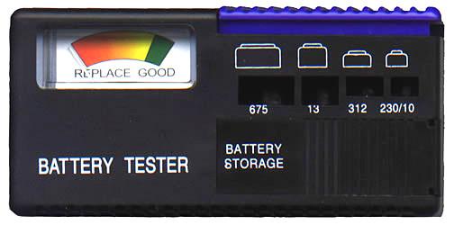 """Muestra de un probador de baterías. """"Battery Tester"""""""
