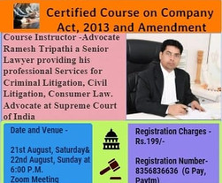 Certified Course on Company Act, 2013 and Amendment  - Law Global