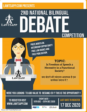 2nd NATIONAL BILINGUAL DEBATE COMPETITION BY LAWTSAPP: REGISTER NOW!