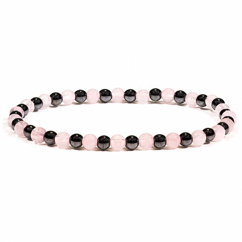 Bracelet hématite/quartz rose