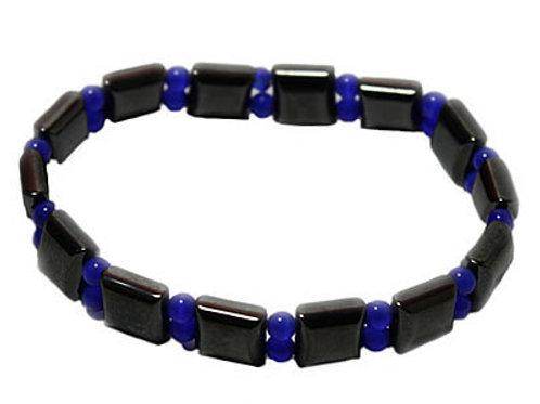 Bracelet Hématite et Perles bleues