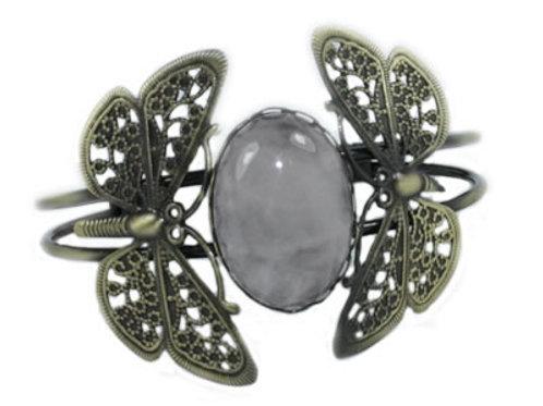Bracelet Papillon en Quartz Rose Cabochon Ovale