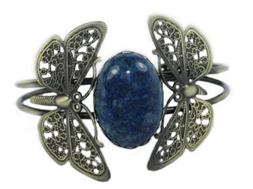 Bracelet Papillon en Lapis Lazuli Cabochon Ovale 25x18 mm