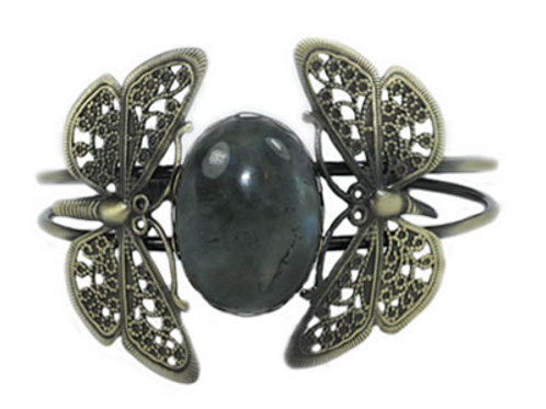 Bracelet Papillon en Labradorite Cabochon Ovale 25x18 mm