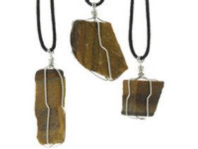 Pendentif Oeil de Tigre pierre brute et Argent 925 Authentic