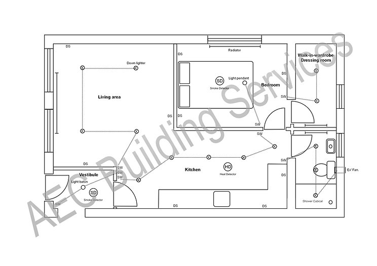 Drawing plan of a double garage conversion in Chesterfield.