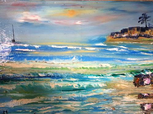 Toile a l'huile de lin au couteau 70 x50 boat an waves