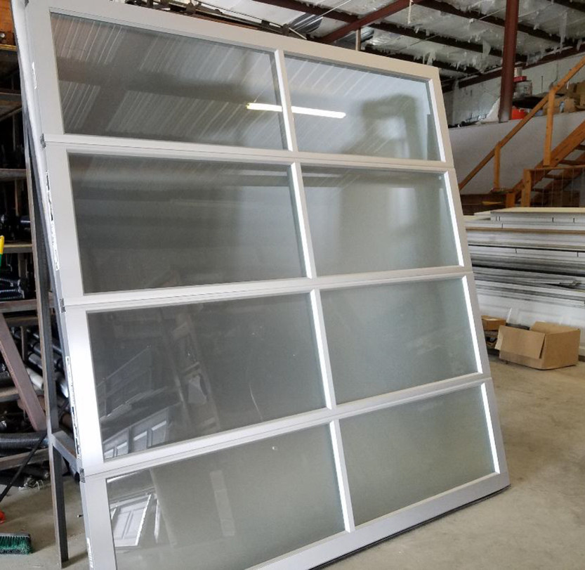 #17 8x8 Clopay Avante full view garage door with Frosted Glass