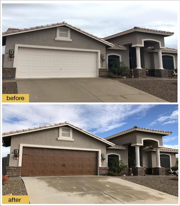 Garage Door before and after photo