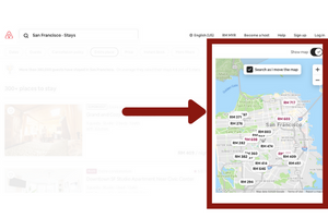 Refine search using the AirBnB map