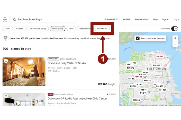 How to filter AirBnB search