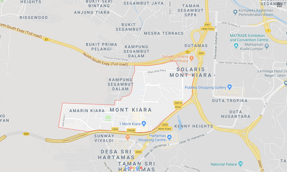 A visual map of Mont Kiara taken from Google Maps