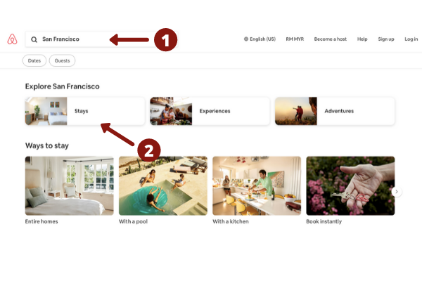 Search AirBnB listings
