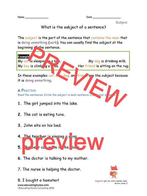 Subject Worksheets