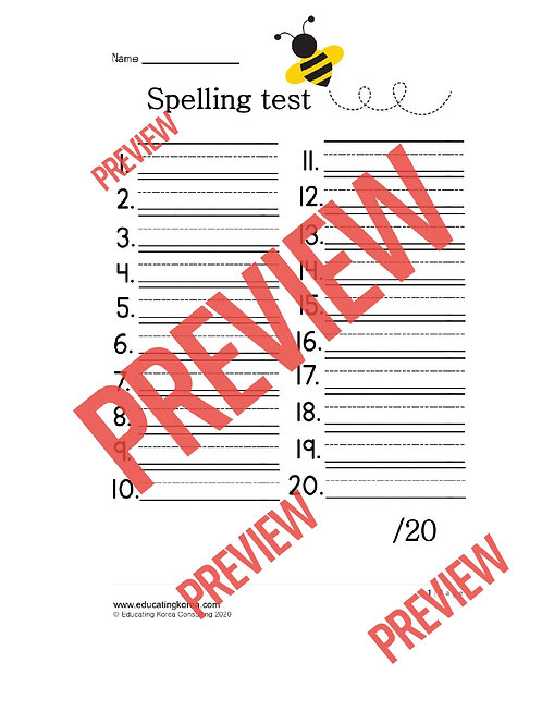 Spelling Test Paper 20 words