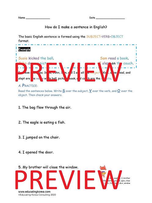 Intro to Sentences Worksheet