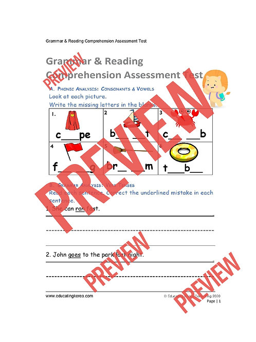 Grammar and Reading Comprehension Assessment Test