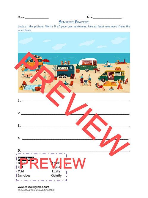 Sentence Practice Worksheet