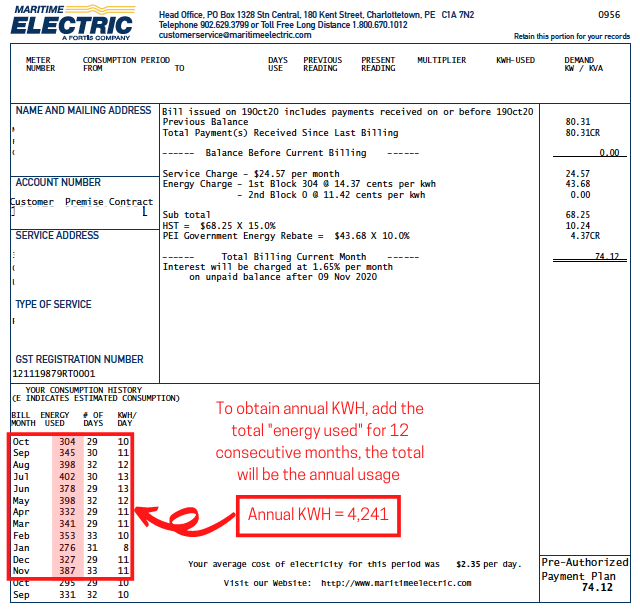 To obtain annual KWH, add the total %22e