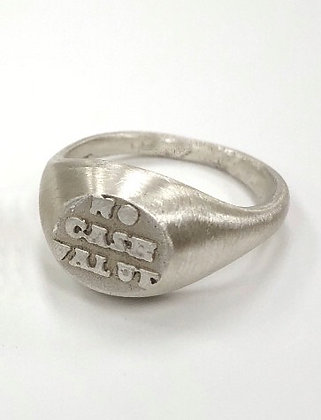 No Cash Value signet ring by Lucy Freedman