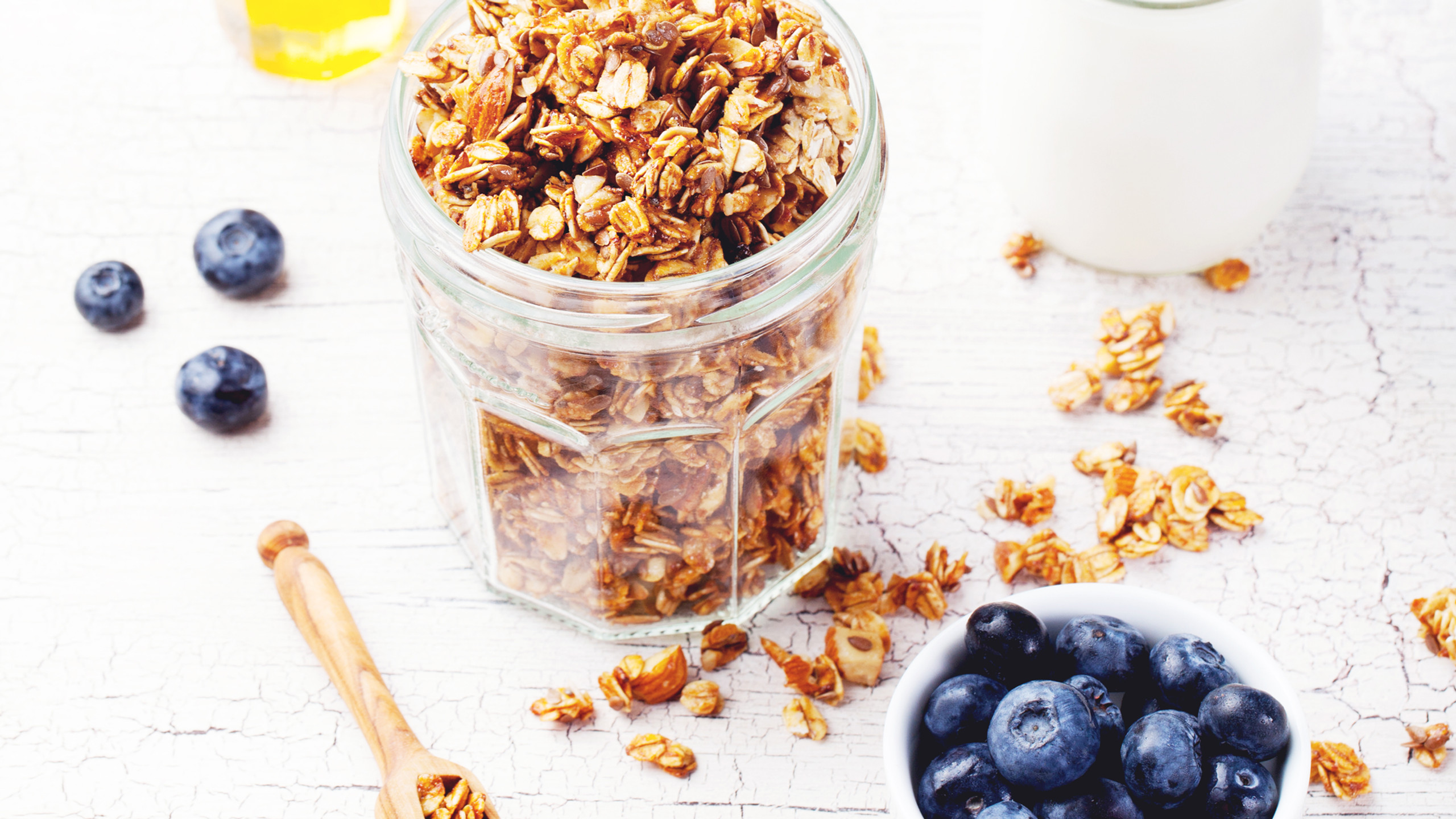 1/2 cup of rolled oats has 5 grams of protein. Use in overnight oats, muffins, granola and smoothies.