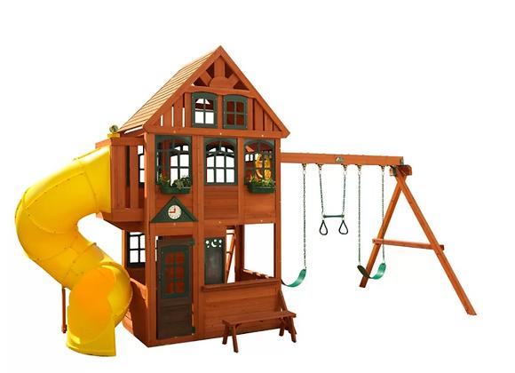 Preston Deluxe Cedar Swing Set with Tube Slide