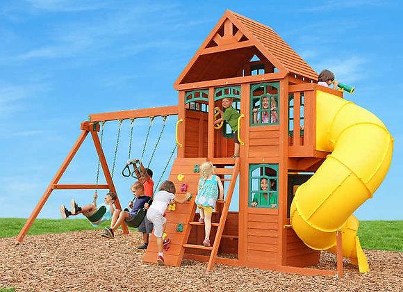 Twin Mountain Tube Slide Lodge Cedar Wood Playset