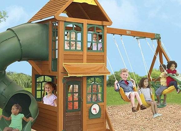 Kid Kraft Cloverdale Cedar Wood Swing Set with Wood Roof