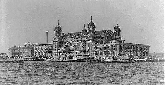 Historic photograph of Ellis Island.