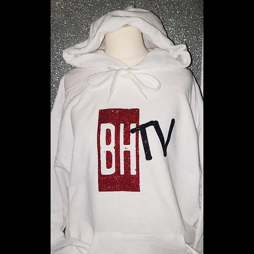BHTV WHITE GLITTER HOODIE