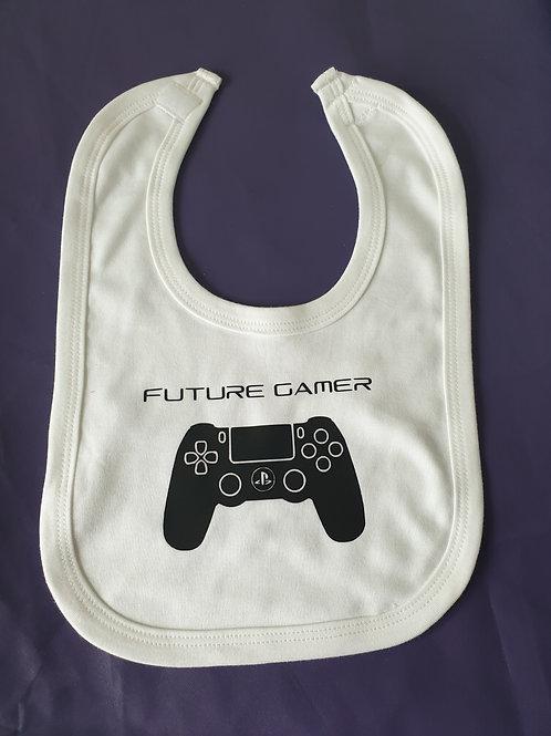 WHITE FUTURE GAMER BABY BIB